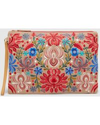 El Corte Inglés - Large Nude Raffia Pouch Bag With Multicoloured Embroidery - Lyst