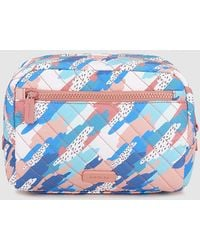 Jo & Mr. Joe - Large Pink And Blue Printed Toiletry Bag With Pocket - Lyst
