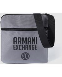 Armani Exchange - Mens Small Grey Fabric Messenger Bag - Lyst