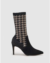 Martinelli - Black Sock Boots With Houndstooth Print - Lyst