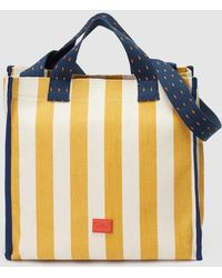 Gloria Ortiz - Summer 1920 Large Two-tone Striped Cotton Beach Tote In Yellow And White - Lyst