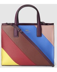 Kurt Geiger - London Leather Tote With Multicoloured Angled Stripes - Lyst