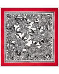 Lauren by Ralph Lauren - Black And White Printed Silk Handkerchief - Lyst