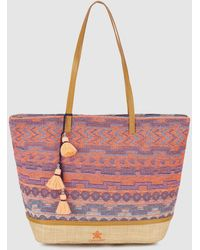 Caminatta - Fabric Shopper Bag With Embroidery In Pink Tones - Lyst