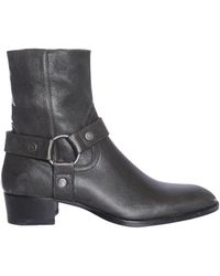 Saint Laurent - Leather Boot With Loop - Lyst
