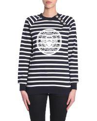 Balmain - Striped Cotton Sweatshirt With Medallion And Logo Print - Lyst