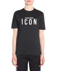 DSquared² - Round Collar Renny Fit Cotton T-shirt With Icon Embroideryt - Lyst