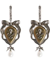 Alexander McQueen - Skull And Ribbon Brass Earrings - Lyst