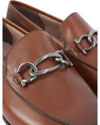 b271978f44f Lyst - Ferragamo Gancini Leather Loafer in Brown for Men