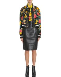 Fausto Puglisi - Floral Print Bomber Jacket With Leather Insert - Lyst