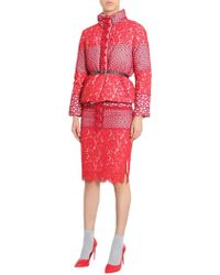 Boutique Moschino - Short Down Jacket With Lace Patchwork - Lyst