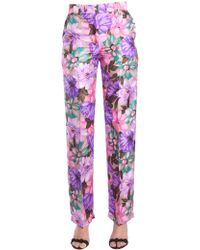 MSGM - Floral Printed Silk Pajama Trousers - Lyst