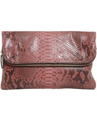 Zagliani - Capriccio Python Leather Clutch - Lyst