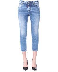 DSquared² - Cool Girl Plain Light Wash Cropped Jeans - Lyst