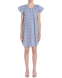 Opening Ceremony - Printed Cotton Poplin Dress With Flounce Detail - Lyst