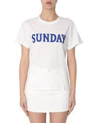 "Alberta Ferretti - Cotton Crew Neck T-shirt With ""sunday"" Embroidery - Lyst"