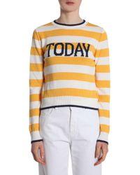"Alberta Ferretti - Striped Sweater With ""today"" Inlay - Lyst"