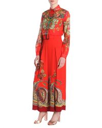 Etro - Red Viscose Trousers - Lyst