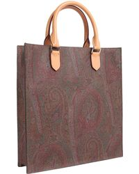Etro - Paisley Printed Shopping Bag With Leather Details - Lyst