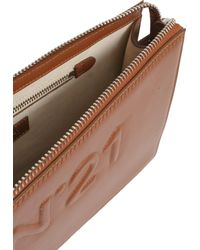 N°21 - Leather Clutch With Embossed Logo - Lyst