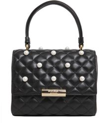 Boutique Moschino - Quilted Leather Bag With Pearls - Lyst