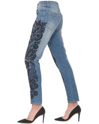 Amen - Denim Stitched Jeans With Pearls - Lyst