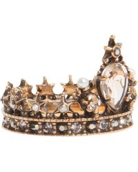Alexander McQueen - Brass Crown Ring - Lyst