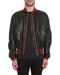 Haider Ackermann - Leather Bomber Jacket With Contrasting Colour Band - Lyst