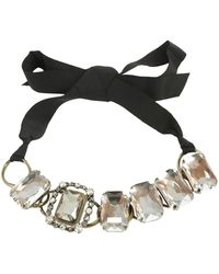 Lanvin - Choker Necklace With Jewels And Gros Grain Bow - Lyst