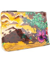 DSquared² - Pouch In Canvas E Pvc Stampa Desert - Lyst