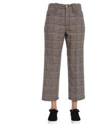 Marc Jacobs Pantalone Cropped In Tweed Di Lana A Quadri