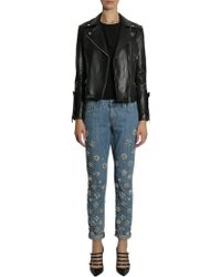 MICHAEL Michael Kors - Leather Biker Jacket With Ruffled Details - Lyst