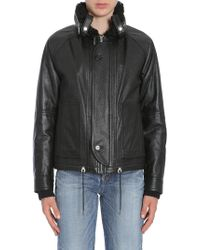 Saint Laurent - Bomber In Pelle Foderato In Shearling - Lyst