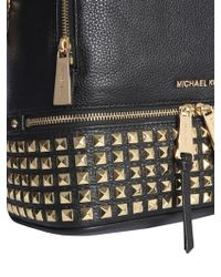 8acac3eaa06e Michael Kors Kim Studded Leather Medium Backpack in Black - Lyst