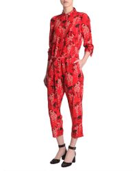 RED Valentino - Silk Jumpsuit With Monkey Print - Lyst