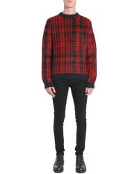 Tommy Hilfiger - Checked Round Collar Mohair Jumper - Lyst