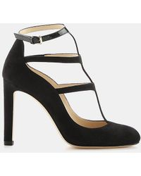 Jimmy Choo - Doll 100 Suede And Patent Leather T-strap Pump - Lyst