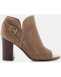 d2a22b97575c89 Sam Edelman - Easton Perforated Suede Peep-toe Bootie - Lyst