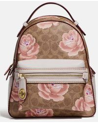 COACH - Coated Canvas Rose Print Campus Backpack 23 - Lyst