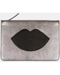 Kendall + Kylie | Veronica Metallic And Snakeprint Leather Clutch | Lyst