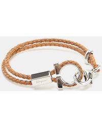 Ferragamo - 545578 Br Zelo Gancio Nappa Leather Bracelet - Lyst