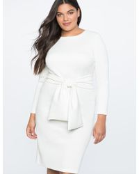 Eloquii - Long Sleeve Scuba Dress With Tie - Lyst