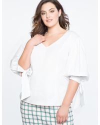 Eloquii - V Neck Top With Bow Cuff - Lyst