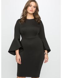 Eloquii - Flare Sleeve Scuba Dress - Lyst