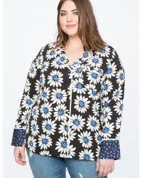 Eloquii - Contrast Print Pajama Top - Lyst