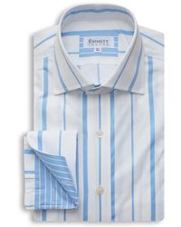 Emmett London - White & Blue Two Stripe Shirt - Lyst