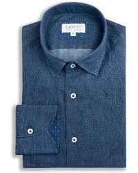Emmett London - Navy Circle Print Linen Shirt - Lyst