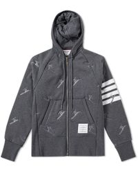 Thom Browne - Skier Embroidery Quilted Hoody - Lyst