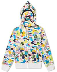 A Bathing Ape - Multi Camo Shark Zip Hoody - Lyst