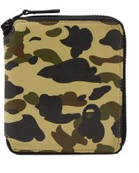 A Bathing Ape - 1st Camo Leather Wallet M - Lyst